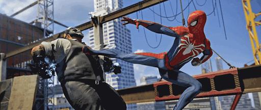 スパイダーマンPS4:背面蹴り