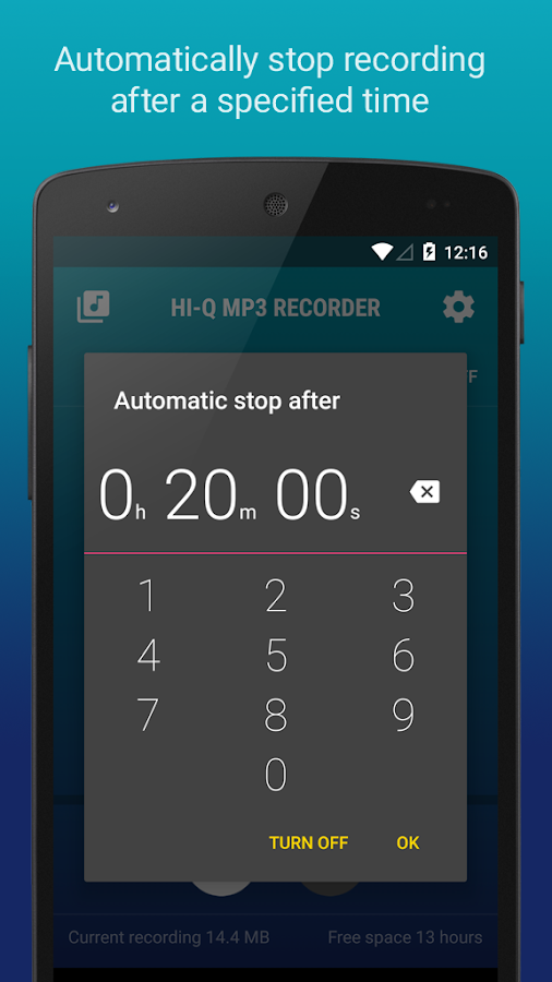 Hi-Q MP3 Voice Recorder (Free) w/Dropbox & G Drive- screenshot