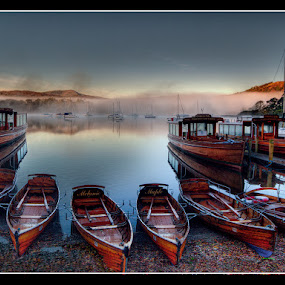 Windermere Boats by Stephen Hooton - Transportation Boats ( wooden, transport, boats, lakes, leisure, mist,  )