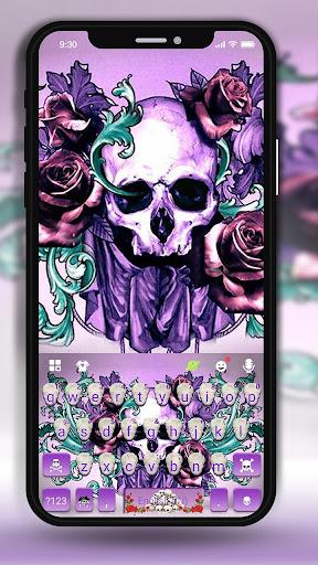 Rose Skull Tattoo Keyboard Theme screenshots 1