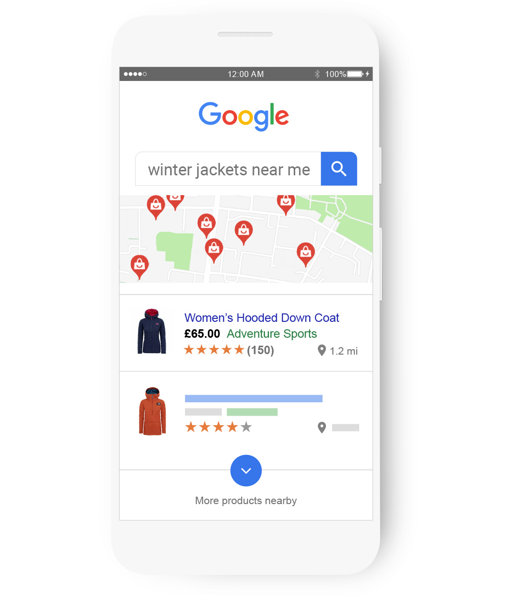 A search for 'winter jackets near me' brings up a map of shop locations