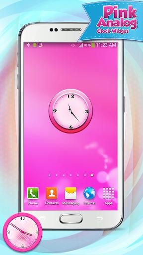 粉红色的模拟时钟小工具