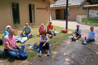 Photo: Munising Falls Visitor Center - they were short on benches and picnic tables, so we just parked outselves for lunch.