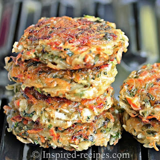 Homemade Hash Browns with Spinach and Carrot.