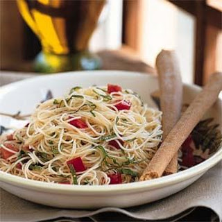 Capellini with Fresh Tomatoes and Basil.