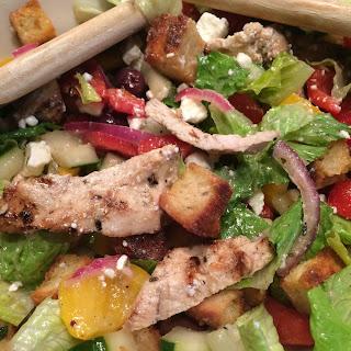 Greek Panzanella Salad with Grilled Marinated Chicken.