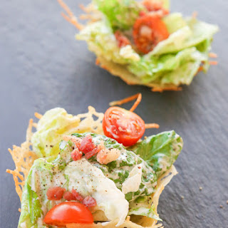 Healthy Caesar Salad Parmesan Cups | Gluten Free & Low Carb Recipe