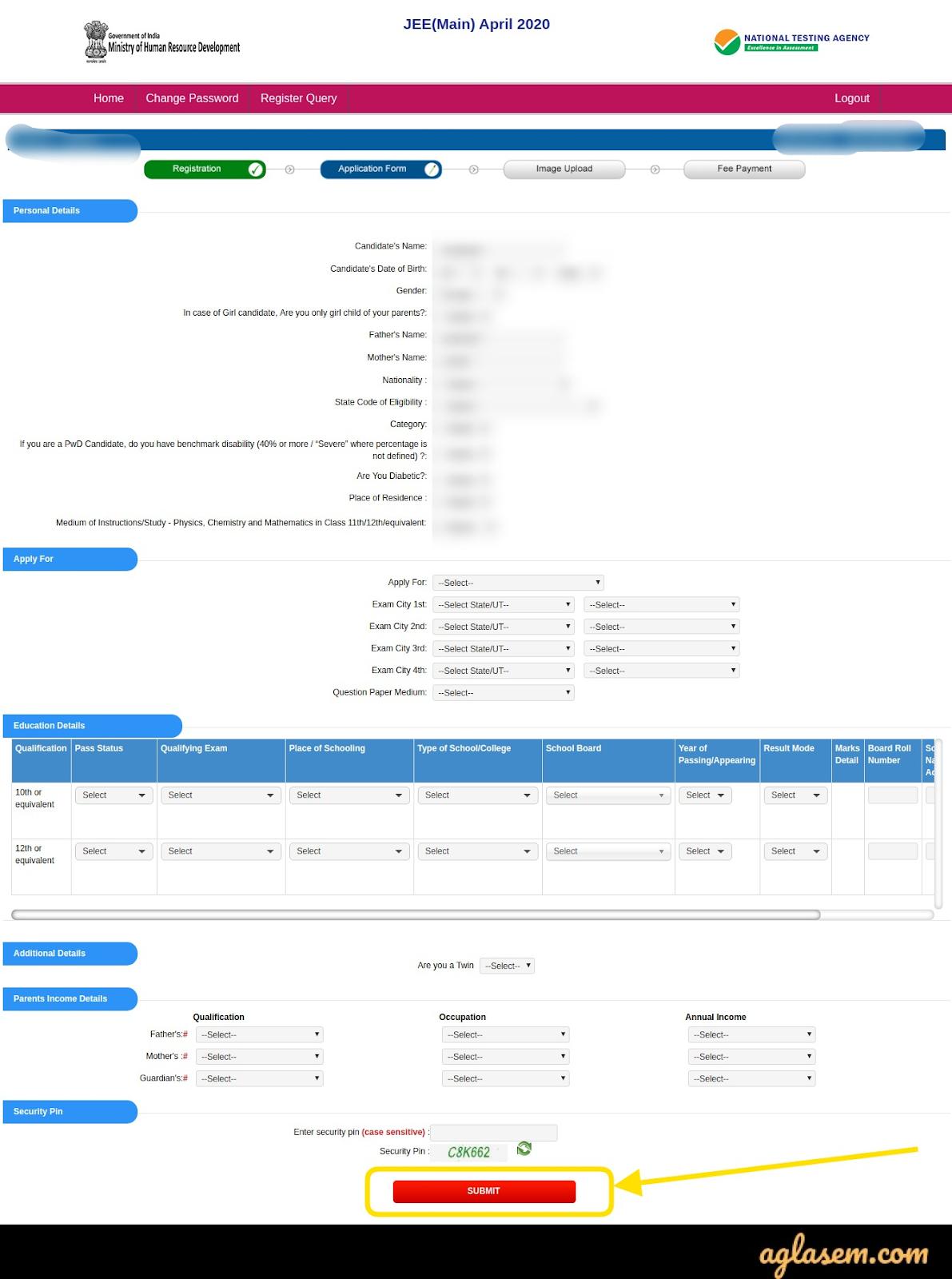 JEE Main 2021 Application Form