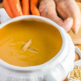 Slow Cooker Curried Sweet Potato & Carrot Soup