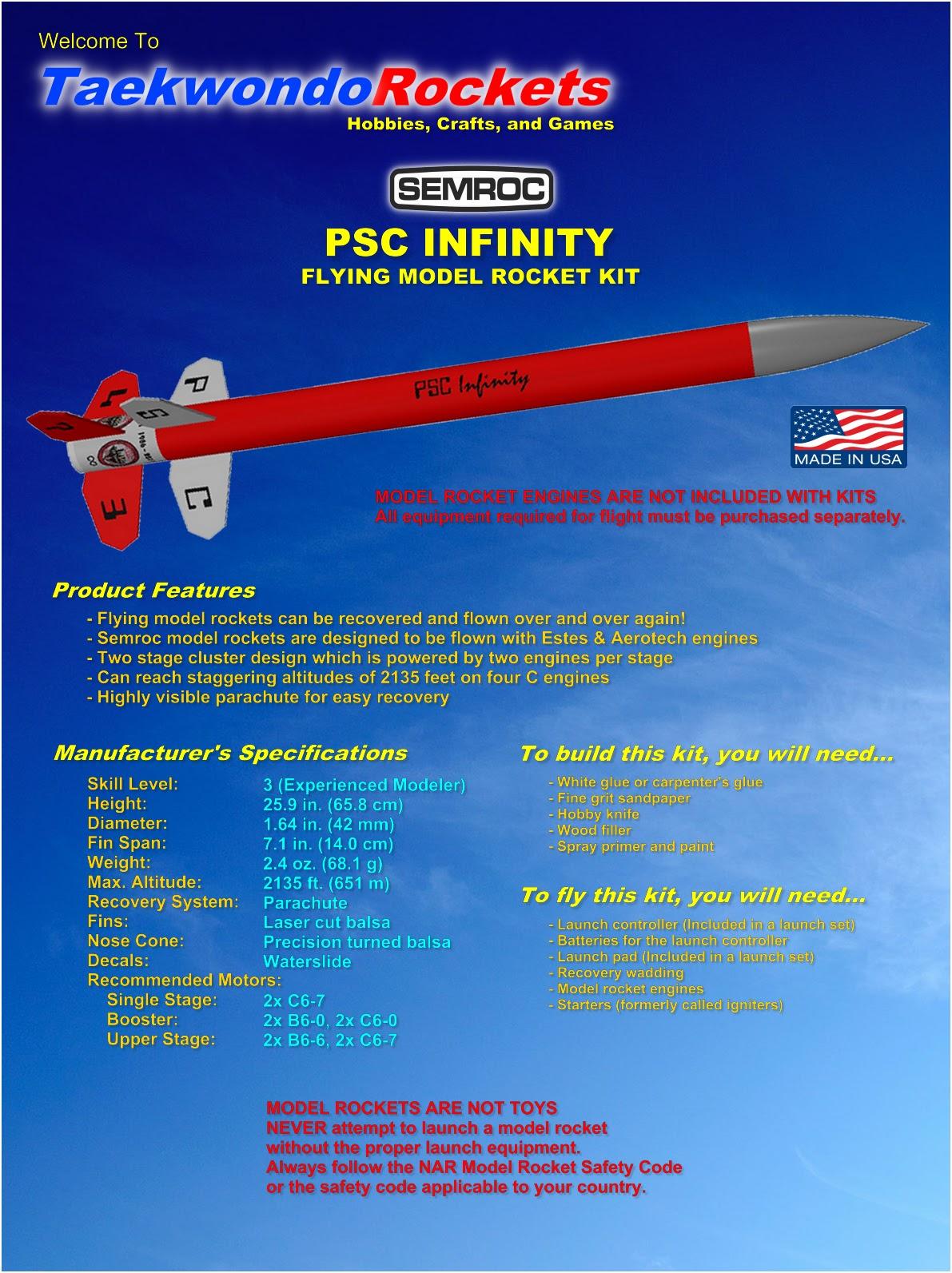 Models & Kits Semroc Flying Model Rocket Kit PSC Infinity KN-5