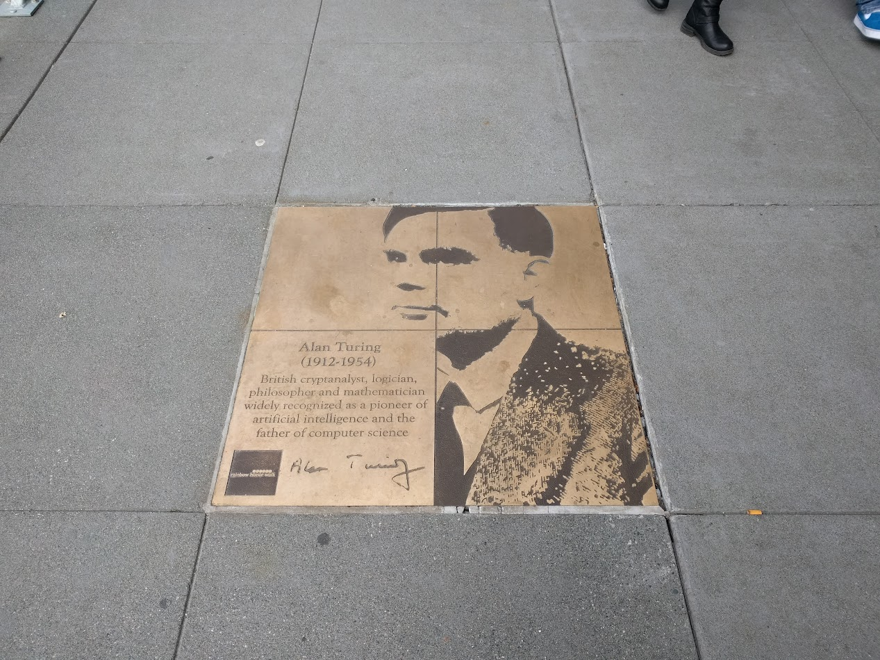Alan Turing plaque from the Rainbow Honor Walk in San Francisco