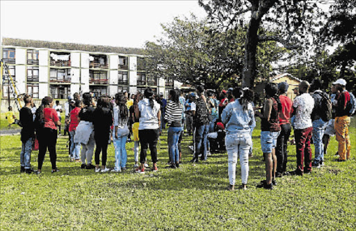 Walter Sisulu University students staged a protest at St Georges park yesterday morning saying the University provided residences that do not meet the Higher Education Specification. PICTURE: SIBONGILE NGALWA
