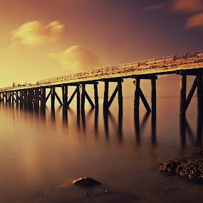Morning Burn by Jomy Jose - Digital Art Places ( man in boat, auckland, cornwallis, sea, fishing, wharf, new zealand,  )