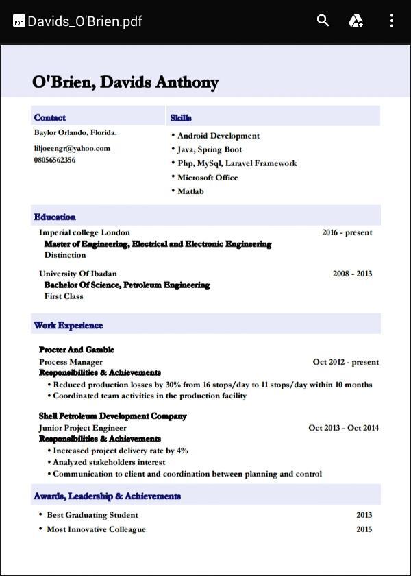 cv builder for smart resumes screenshot