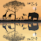 Savana with giraffes, herons and elephant.jpg