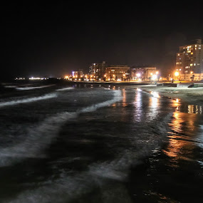 Beach front at Night by Lanie Badenhorst - City,  Street & Park  Night (  )