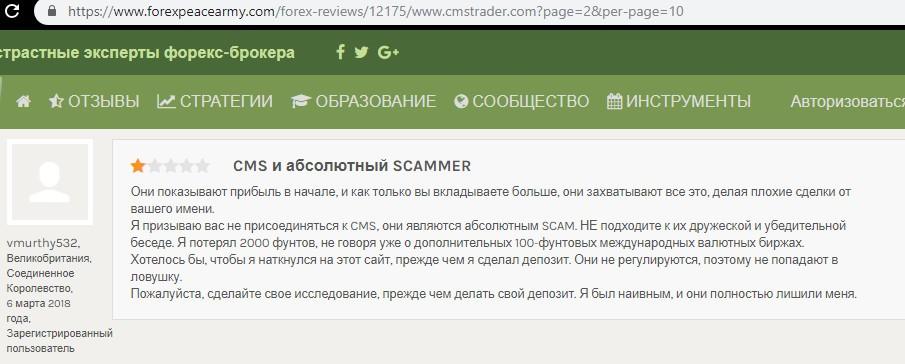 Обзор брокера CMS Trader: условия сотрудничества и отзывы вкладчиков