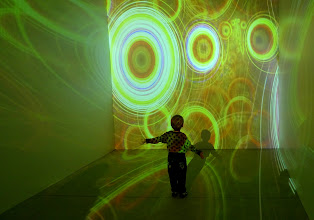 Photo: Dreams in High Fidelity II on 3 projectors creating an immersive installation at Lexus Hybrid Art, Moscow, 2010.04