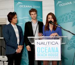 Photo: Co-hosts Tyler Blackburn, Keegan Allen, and Aimee Teegardencelebrate World Oceans Day at Nautica's Oceana Beach House
