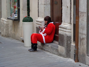 Photo: Santa takes time out from toy shop