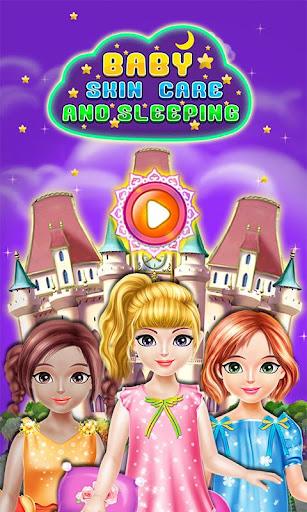 女の子のゲームを睡眠とケア