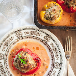 Herby Pork, Zucchini and Millet Stuffed Peppers