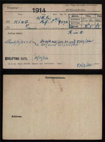 Francis King's Medal Index Card