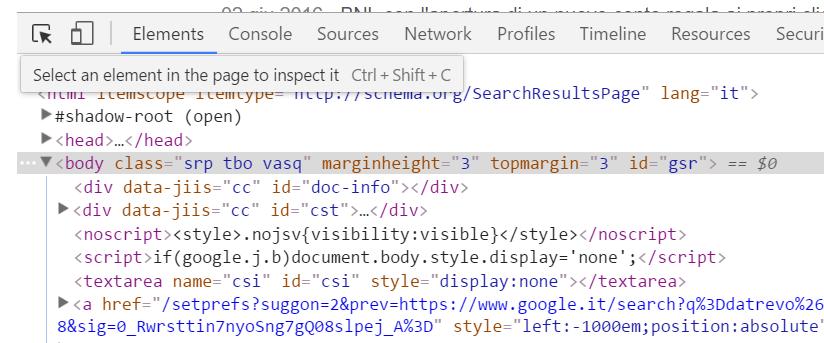 Google Developer Tools - Seleziona elemento
