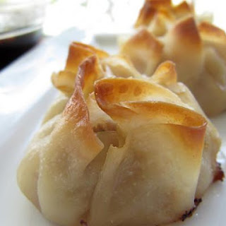 Baked Pork Flower Dumplings with Soy Ginger Dipping Sauce