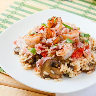 Mushroom Caprese Risotto with Balsamic Shrimp.