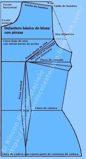 Patrón básico delantero de blusacon pinzas tipo industrial