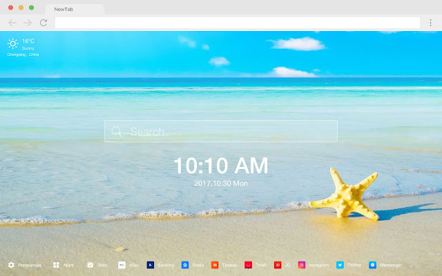 Starfish New Tab Page HD Popular Ocean Theme