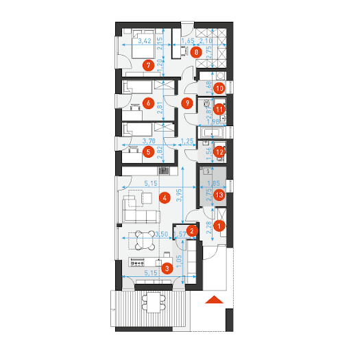 Ekonomiczny 3 - Rzut parteru z wymiarami pomieszczeń