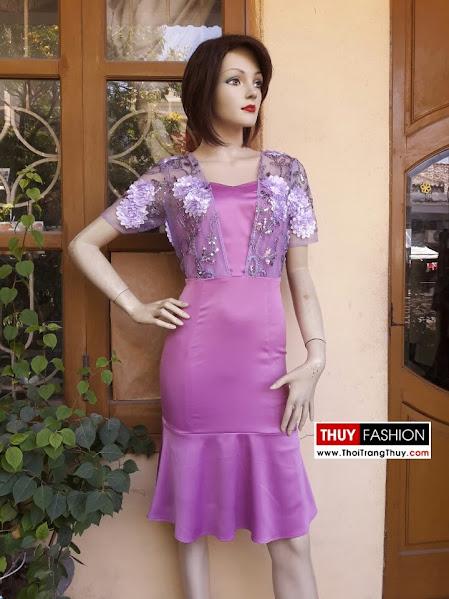 Váy dự tiệc dáng đuôi cá hoa 3D V285 thời trang thuỷ