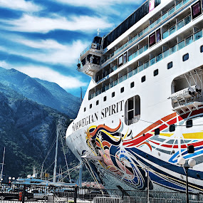 The BIG Spirit !  by Nelida Dot - Transportation Other ( big, blue sky, mountains, cruise, ship, vacation, travel,  )
