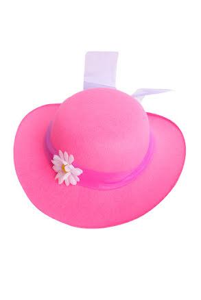 Damhatt rosa med lila tyllband