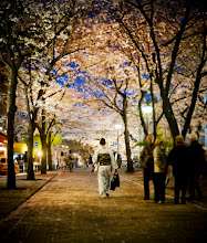 Photo: Kimono Under the Cherry Blossom Trees - Kyoto, Japan  It was my second time to Kyoto, but my fourth time to Japan. I started to become more accustomed to the times of day and the comings and goings of the ladies in kimonos. You can see them most any time of the day or not, but they flood out of every crevice around this time of night. The pink cherry blossoms made everything seem like it was right out the days of the shogun.  from the blog at www.stuckincustoms.com