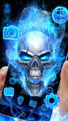 3D Blue Fire Skull Theme Launcher 1.1.15 screenshots 1