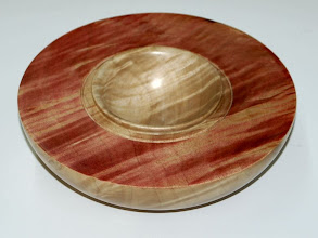 "Photo: Gary Guenther - quilted silver maple bowl in bowl - 6"" x 1.6"" - scarlet RIT dye"