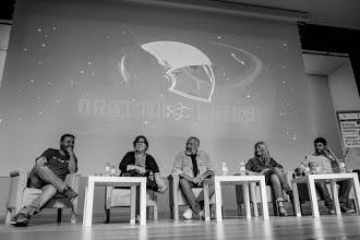 Photo: ¡Órbita Laika en Naukas15! con, entre otros, su director, Jose @mimesacojea.