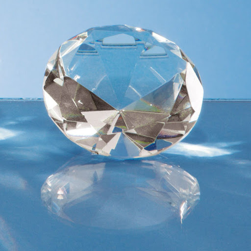 10cm Optical Crystal Diamond Paperweight Blue