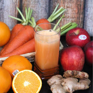 Apple, Carrot, Orange, and Ginger Juice.