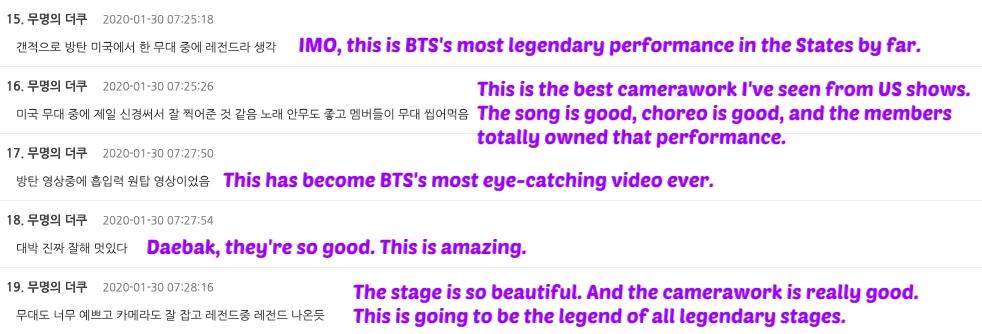 BTS comments