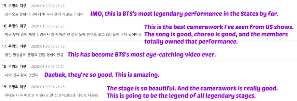 BTS comments