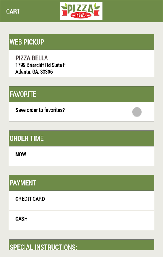 Pizza Bella Emory- screenshot