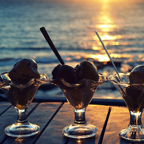 Sunset sweet by Daniela Elena - Food & Drink Candy & Dessert ( ionian sea, food by the sea, sweets, sunset, ice cream )