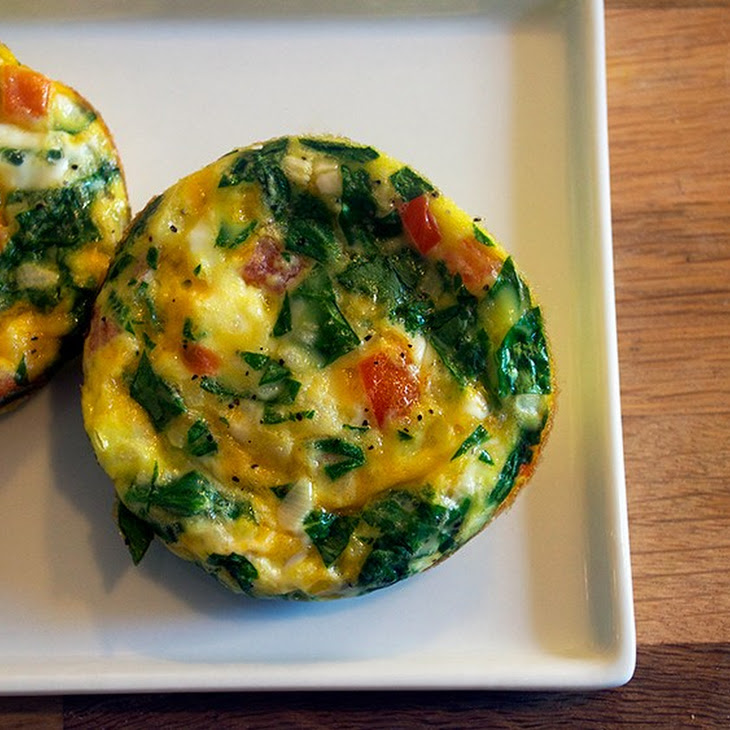Spinach, Tomato and Cheddar Muffin Pan Frittatas