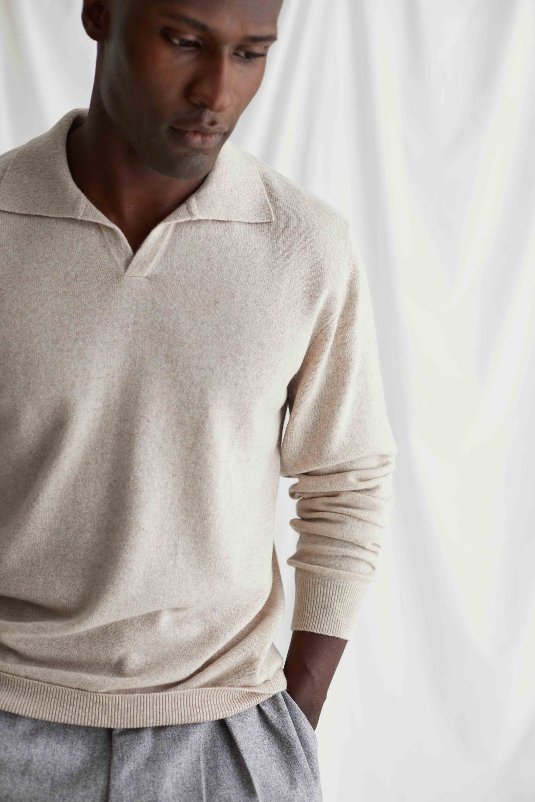 Man Open Collar Sweater