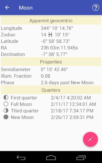 Astronomical Almanac- screenshot