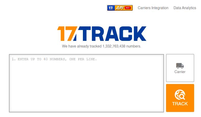 17track website scrrenshot